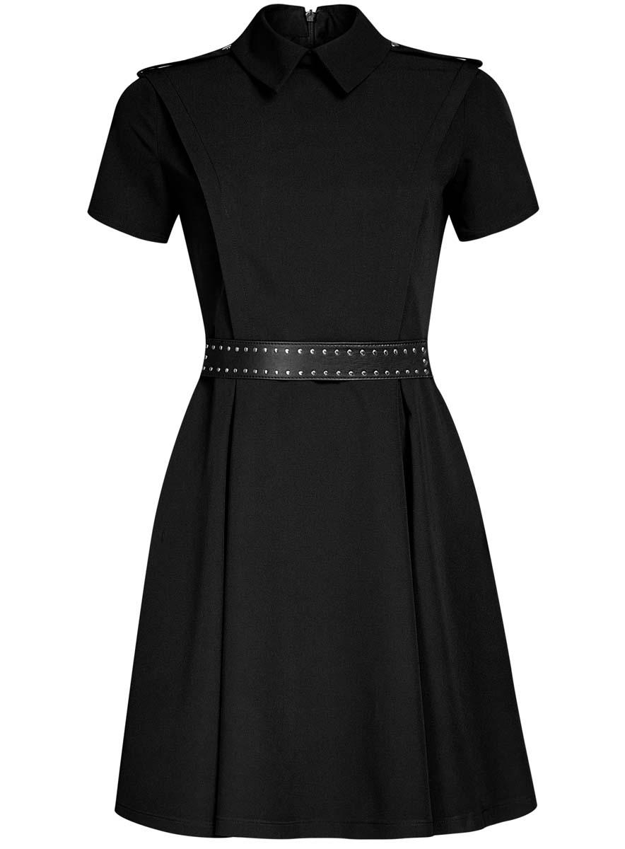 Платье oodji Ultra, цвет: черный. 11910088/38253/2900N. Размер 34-170 (40-170)11910088/38253/2900NСтильное платьеoodji Ultra с пышной расклешенной юбкой - модное решение на каждый день. Модель средней длины с короткими рукавами и воротничком-стойкой выполнена из качественного плотного материала.Платье дополнено погонами и застегивается на скрытую молнию на спинке.В комплект с платьемвходит широкий ремень из трикотажной резинки и искусственной кожи с металлическимиклепками.