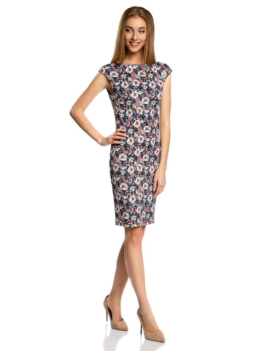 Платье oodji Ultra, цвет: темно-синий, кремовый, красный. 14001170-1/45344/7930F. Размер M (46) платье oodji ultra цвет серый белый 14001117 17b 45344 126de размер m 46