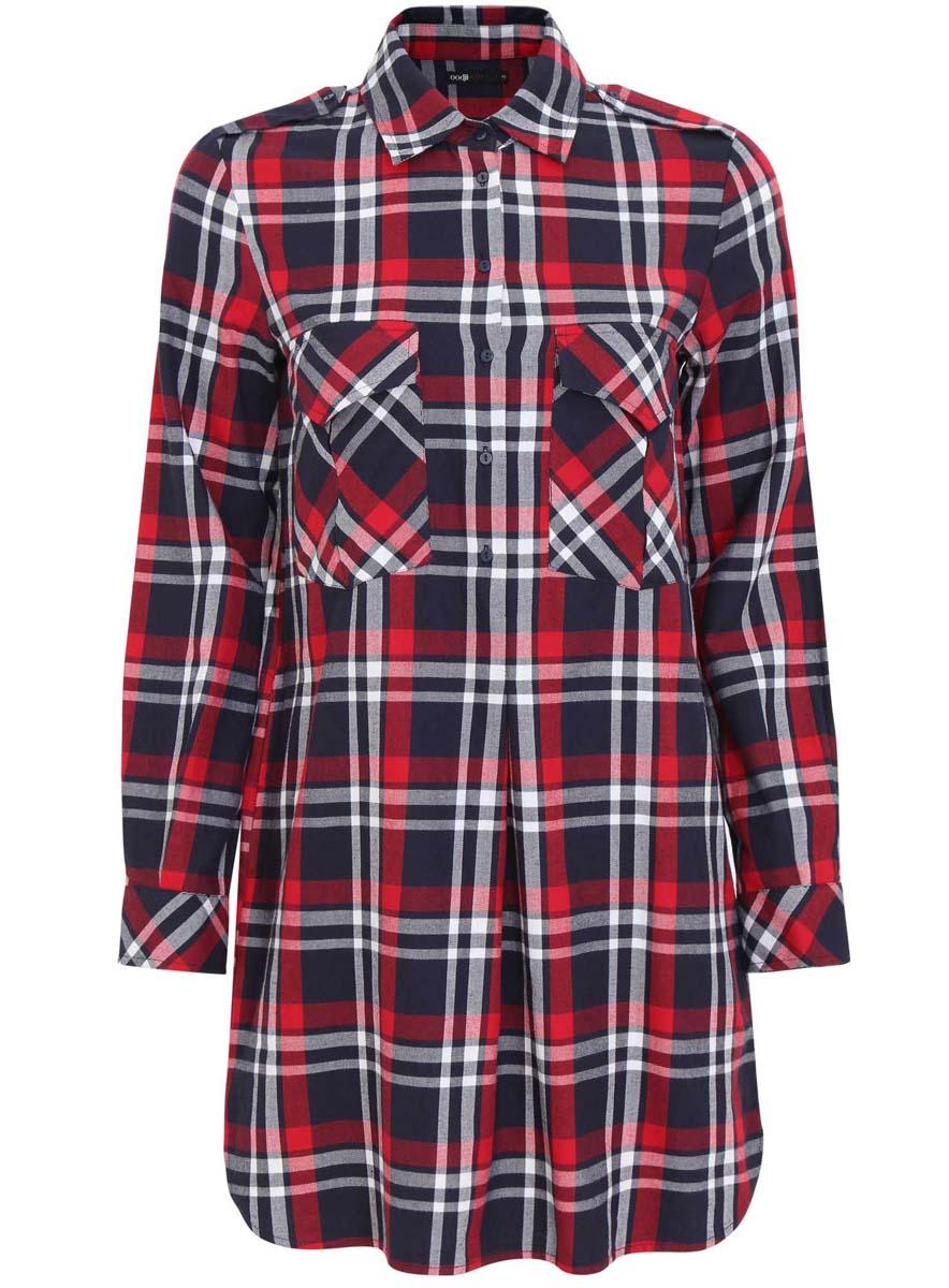 Платье-рубашка oodji Ultra, цвет: темно-синий, красный. 11911004/45252/7945C. Размер 36-170 (42-170)11911004/45252/7945CПлатье-рубашка oodji Ultra выполнено из натурального хлопка с принтом в крупную клетку. Модель с отложным воротничком и закругленными разрезами застегивается на пуговицы. По бокам подола имеются два врезных кармана, на груди - два накладных кармана под клапанами. Манжеты рукавов также застегиваются на пуговицы.