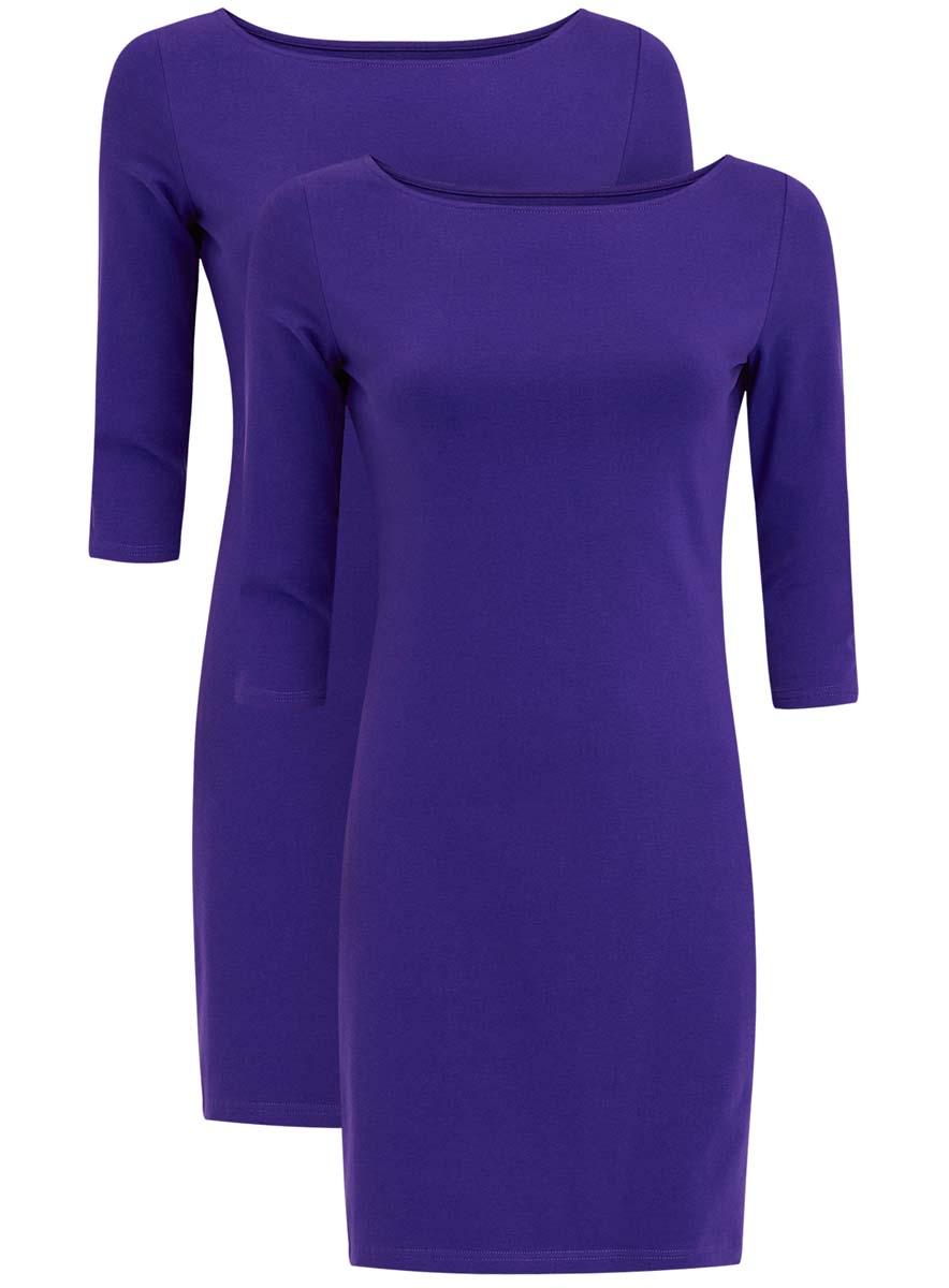Платье oodji Ultra, цвет: синий, 2 шт. 14001071T2/46148/7500N. Размер M (46)14001071T2/46148/7500NКомплект из двух мини-платьев oodji Ultra изготовлен из хлопка с добавлением эластана. Обтягивающие платья с круглым вырезом и рукавами 3/4 выполнены в лаконичном дизайне. В комплекте два платья.