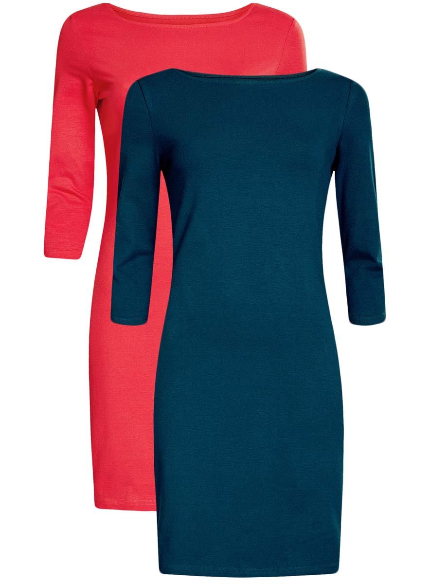 Платье oodji Ultra, цвет: темно-бирюзовый, розовый, 2 шт. 14001071T2/46148/1904N. Размер XS (42)14001071T2/46148/1904NКомплект из двух мини-платьев oodji Ultra изготовлен из хлопка с добавлением эластана. Обтягивающие платья с круглым вырезом и рукавами 3/4 выполнены в лаконичном дизайне. В комплекте два платья.