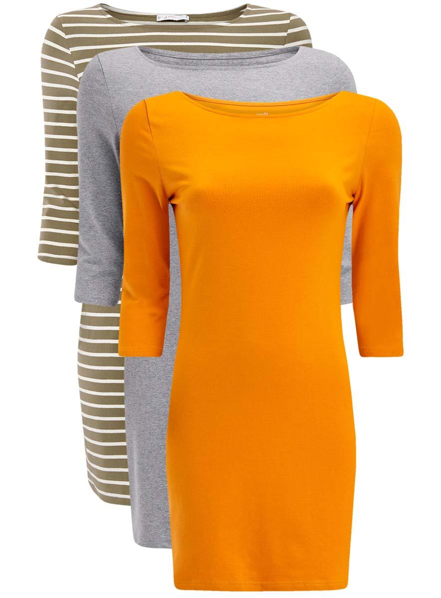 Платье oodji Ultra, цвет: серый, белый, оранжевый, 3 шт. 14001071T3/46148/1909S. Размер S (44-170)14001071T3/46148/1909SКомплект из трех мини-платьев oodji Ultra изготовлен из хлопка с добавлением эластана. Обтягивающие платья с вырезом лодочкой и рукавами 3/4 выполнены в лаконичном дизайне. Все платья комплекта представлены в разных цветах.