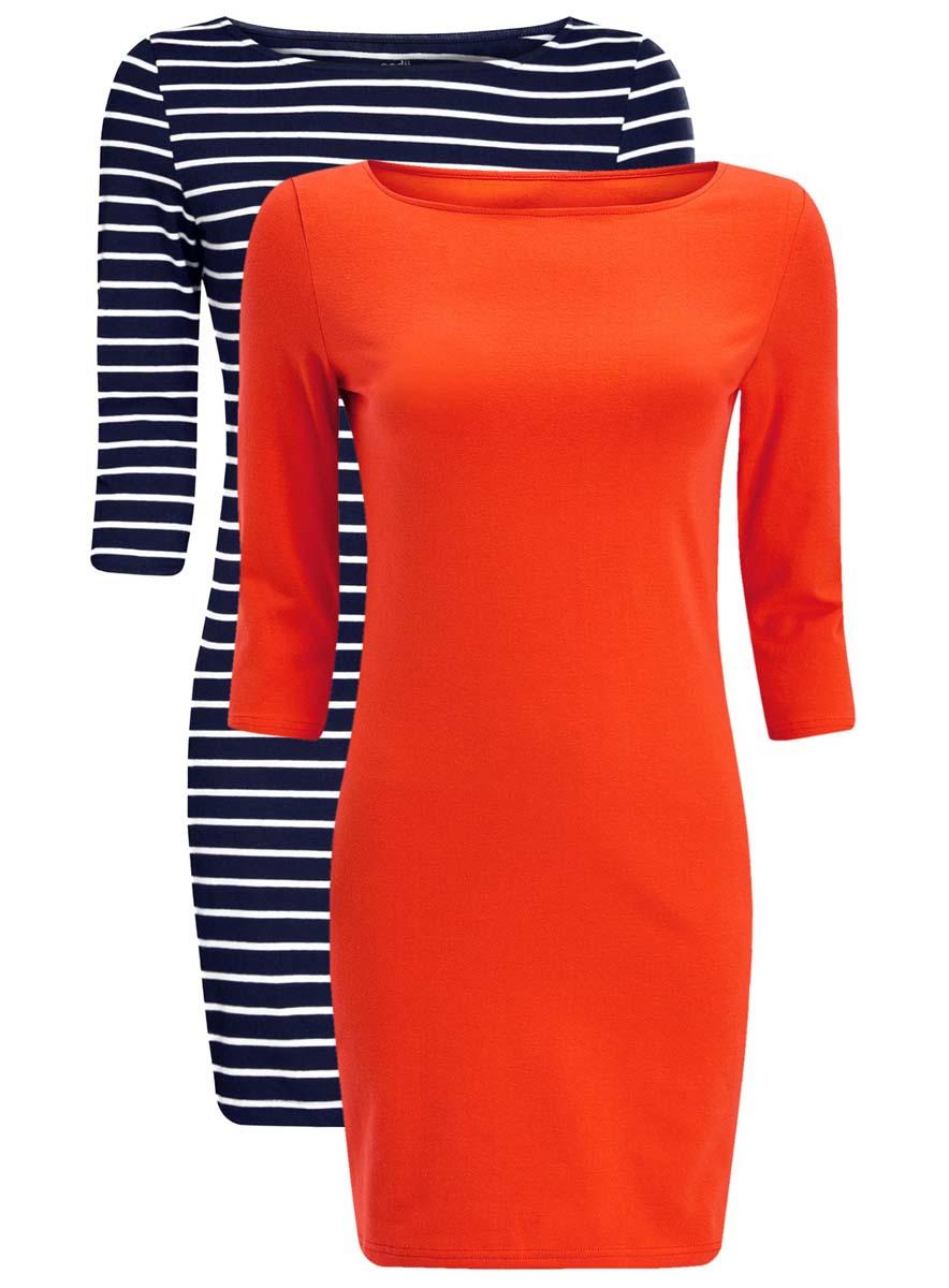 Платье oodji Ultra, цвет: красный, темно-синий, 2 шт. 14001071T2/46148/4579N. Размер XS (42)