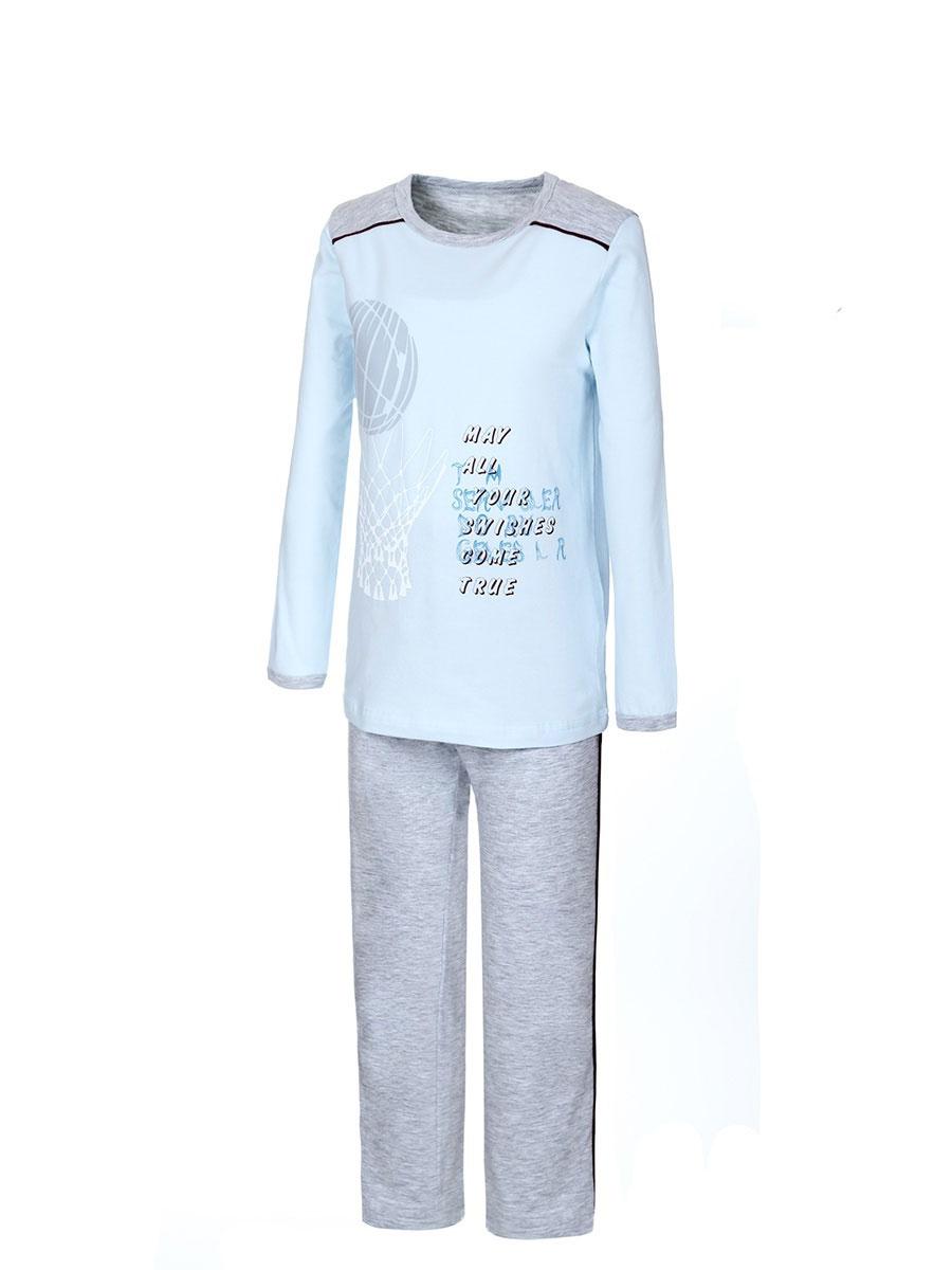 Пижама для мальчика Baykar, цвет: голубой, серый. N9088217. Размер 104/110N9088217Пижама для мальчика Baykar, выполненная из эластичного хлопка, идеально подойдет ребенку для отдыха и сна. Материал изделия мягкий, тактильно приятный, не сковывает движения, хорошо пропускает воздух. Пижама состоит из футболки с длинным рукавом и брюк. Футболка с длинными рукавами и круглым вырезом горловины оформлена принтом на спортивную тематику, а также надписями. Вырез горловины и края рукавов дополнены эластичными бейками.Брюки прямого кроя имеют на талии мягкую резинку, благодаря чему они не сдавливают живот ребенка и не сползают. По бокам модель дополнена контрастными лампасами. Высокое качество исполнения и дизайн принесут удовольствие от покупки и подарят отличное настроение!