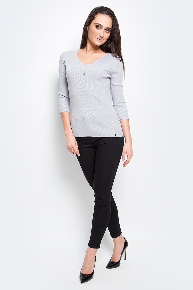 Пуловер женский Finn Flare, цвет: светло-серый. B17-11101_211. Размер M (46) пуховик женский finn flare цвет светло коричневый a16 11072 623 размер xxl 52