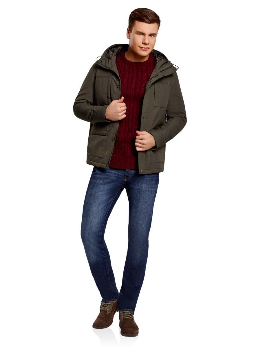Куртка мужская oodji Lab, цвет: хаки. 1L412027M/46215N/6600N. Размер XL-182 (56-182)1L412027M/46215N/6600NМужская куртка oodji Lab выполнена из высококачественного материала. В качестве подкладки и утеплителя используется полиэстер. Модель с капюшоном застегивается на застежку-молнию и дополнительно ветрозащитным клапаном на кнопки. Спереди расположено множество карманов.