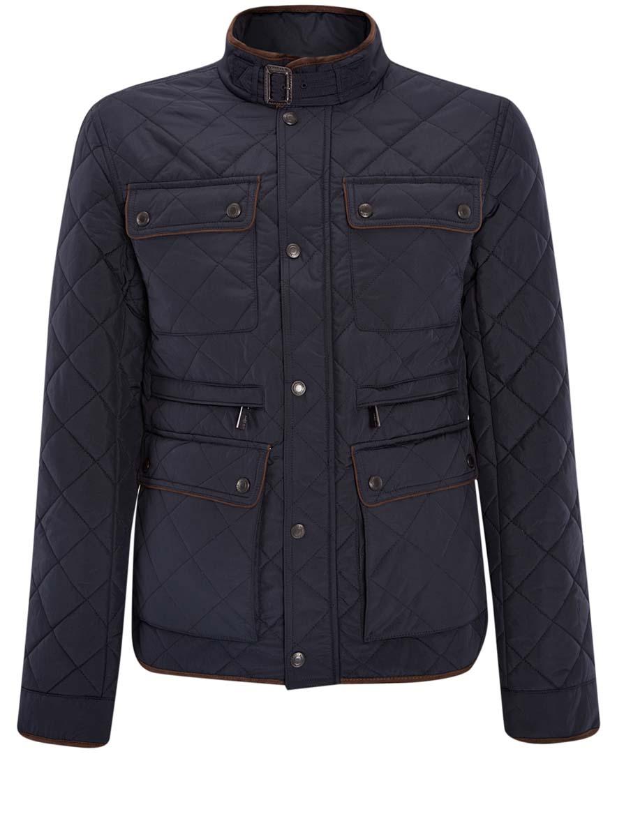 Куртка мужская oodji Lab, цвет: темно-синий. 1L111018M/34857N/7900N. Размер XL-182 (56-182) кардиган мужской oodji lab цвет темно синий 4l612128m 21654n 7900n размер xl 56