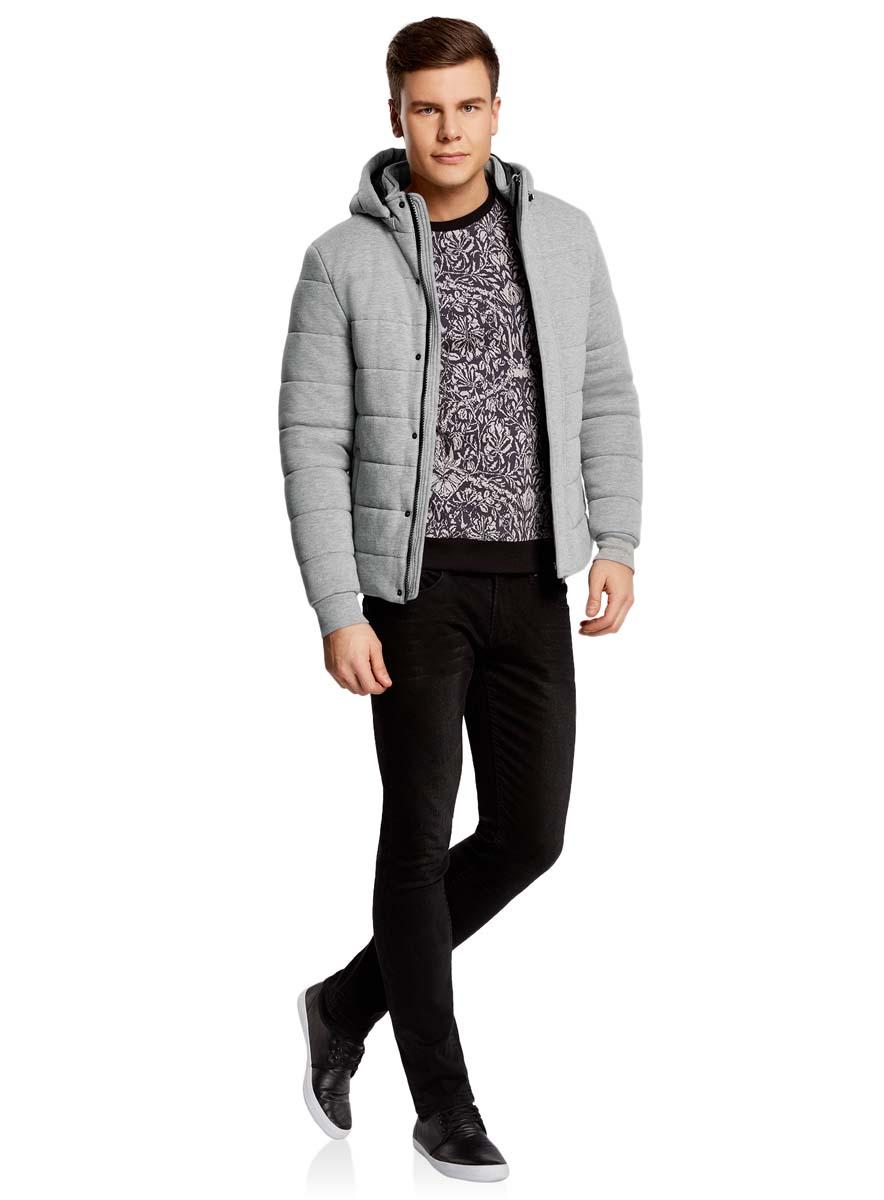 Куртка мужская oodji Lab, цвет: серый меланж. 1L112023M/46320N/2300M. Размер XXL-182 (58/60-182)1L112023M/46320N/2300MМужская куртка oodji Lab выполнена из высококачественного материала. В качестве подкладки и утеплителя также используется полиэстер. Модель с съемным капюшоном застегивается на застежку-молнию и дополнительно ветрозащитным клапаном на кнопки. Спереди расположено два прорезных кармана.