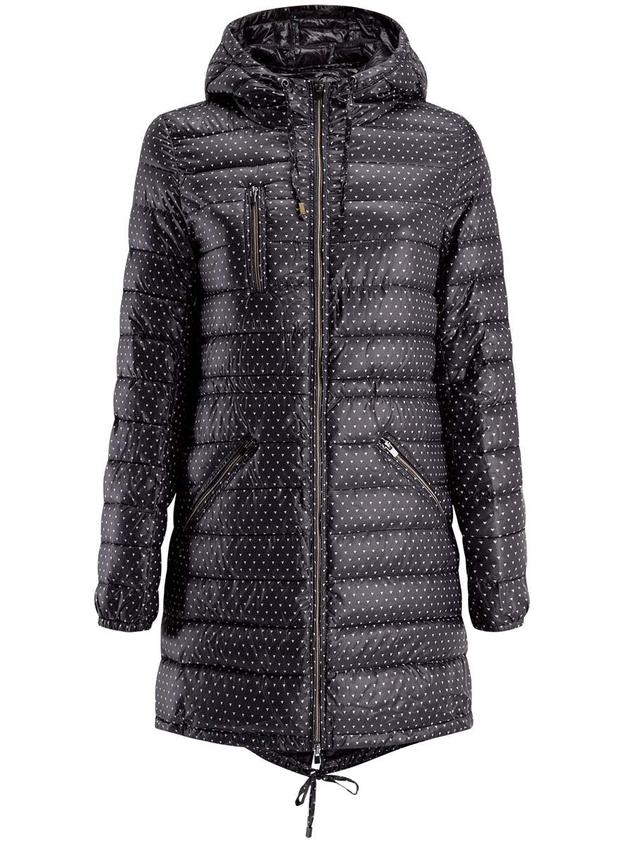 Куртка женская oodji Ultra, цвет: черный, белый. 10203056-1/45614/2912G. Размер 34-170 (40-170) куртка женская oodji ultra цвет ментоловый 10304290 18432 6500n размер 34 170 40 170
