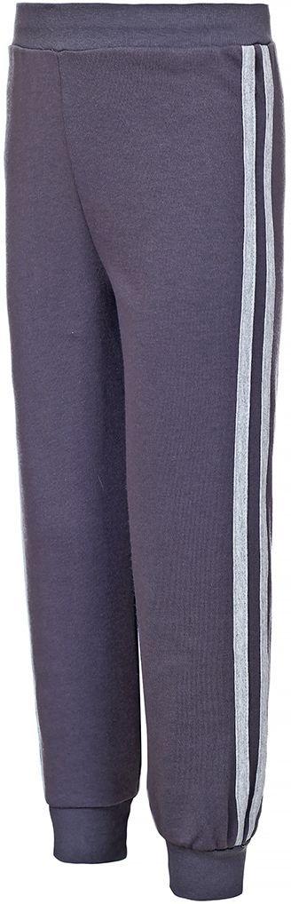 Брюки спортивные детские M&D, цвет: темно-серый. Б191051. Размер 104Б191051Детские спортивные брюки M&D выполнены из натурального хлопка. Модель на талии имеет широкую эластичную резинку. Нижняя часть штанин дополнена трикотажными манжетами.