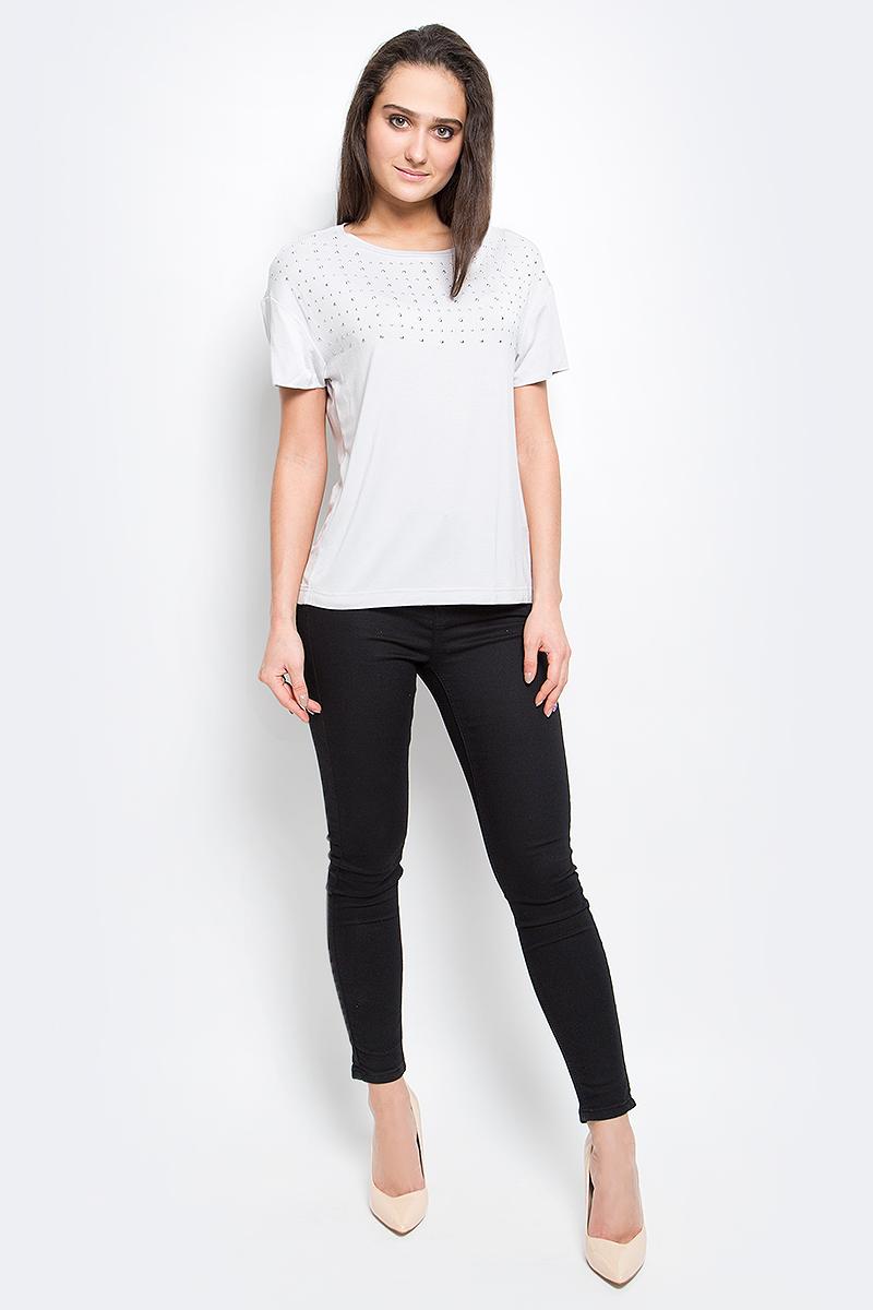 куртка женская finn flare цвет светло серый b17 12018 210 размер l 48 Футболка женская Finn Flare, цвет: светло-серый. B17-12057_210. Размер XXL (52)