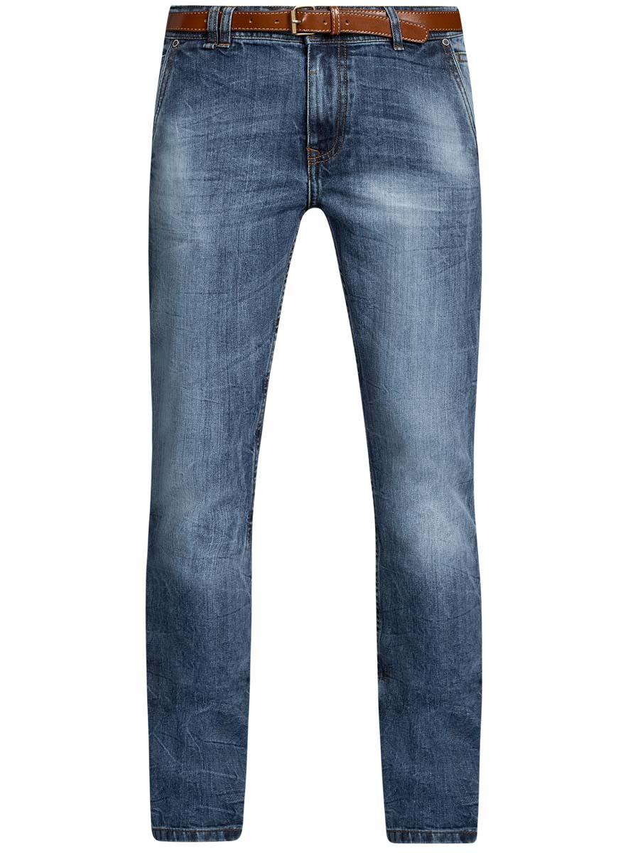 Джинсы мужские oodji Lab, цвет: синий джинс. 6L100018M/46627/7500W. Размер 32-32 (50-32)6L100018M/46627/7500WМужские джинсы oodji Basic выполнены из высококачественного материала. Модель-слим средней посадки по поясу застегивается на пуговицу и имеют ширинку на застежке-молнии, а также шлевки для ремня. Джинсы имеют спереди - два втачных кармана с косыми срезами и один маленький накладной, сзади - два втачных кармана.