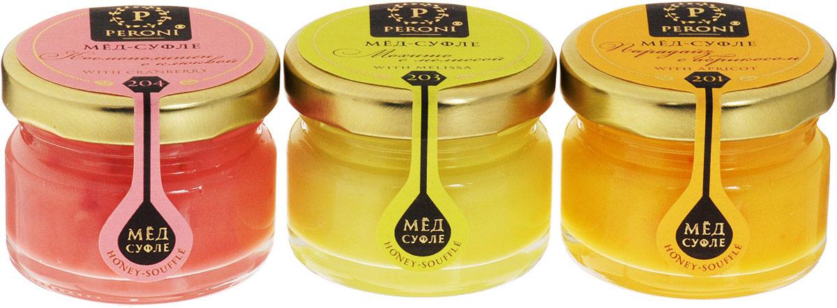 Peroni Коктейли мед-суфле подарочный набор, 3 шт по 30 г310Медовые коктейли - это новинка в мире меда. Взрывная клюква, солнечный абрикос, и освежающая мелисса поражают своими вкусами. В их составе только натуральные и полезные ингредиенты, которые превращают мед в изысканное лакомство.Уважаемые клиенты! Обращаем ваше внимание, что полный перечень состава продукта представлен на дополнительном изображении.Уважаемые клиенты! Обращаем ваше внимание, что вкусы меда в ассортименте. Поставка возможна в зависимости от наличия на складе.