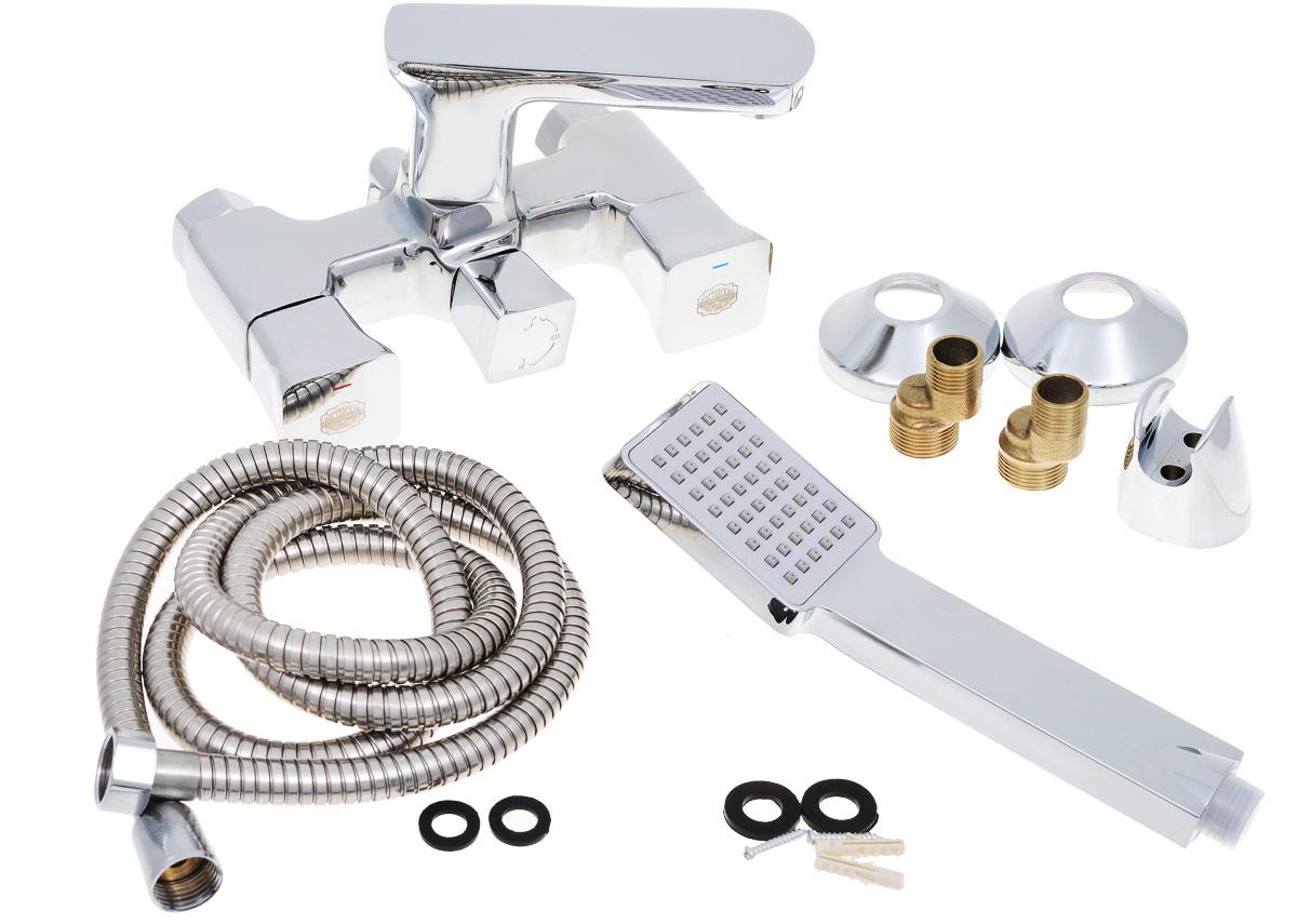 Смеситель для ванны РМС, с коротким изливом, цвет: хром. SL64-142E-1SL64-142E-1Смеситель для ванны с коротким изливом. Кран-букса латунная с керамическими пластинами угол поворота 180 градусов. Евро-переключение на душ. Повотный излив. Аэратор: пластиковый. Покрытие: хром. В комплекте: эксцентрики, отражатели, металлический шланг для душа 1,5м, лейка для душаДвуручковый смеситель для ванны и душа РМС выполнен из высококачественной латуни с хромированным покрытием. Предназначен для смешивания холодной и горячей воды, устанавливается в ванну и душ. Смеситель имеет евро-переключатель воды ванна/душ, а также 2 латунных кран-букса, короткийизлив и пластиковый аэратор. В комплект входят 2 эксцентрика, 2 отражателя, металлический шланг для душа, лейка для душа, держатель для лейки и 4 резиновых уплотнителя.Длина шланга для душа: 1,5 м. Размер лейки для душа: 23 х 6,3 х 3,2 см.Размер смесителя: 19 х 12 х 12 см.