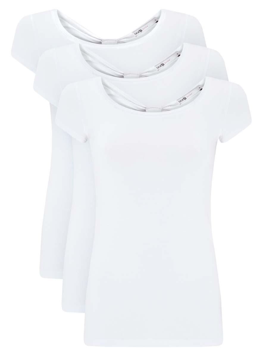 Футболка женская oodji Ultra, цвет: белый, 3 шт. 14701026T3/46147/1000N. Размер L (48)