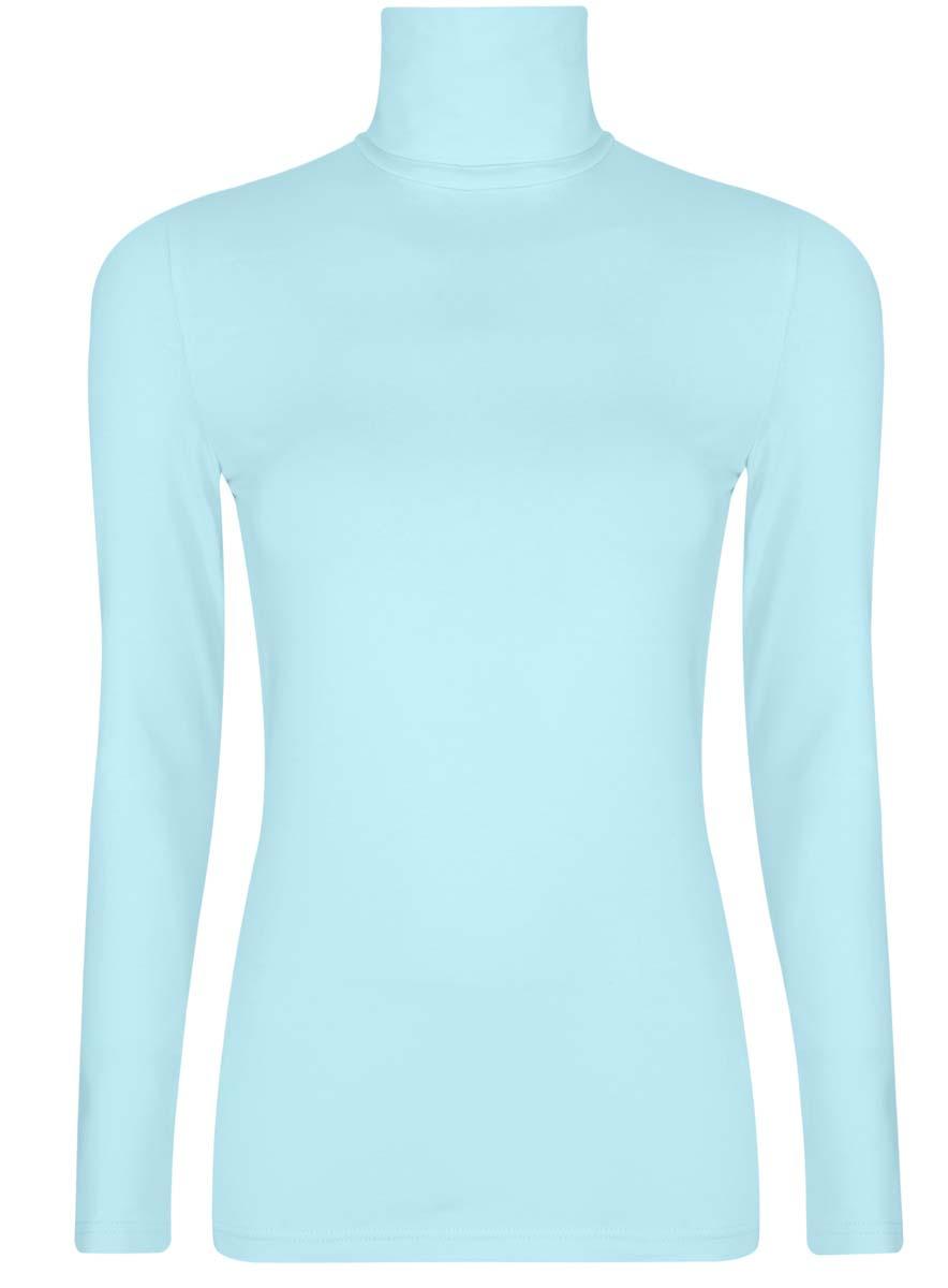 Водолазка женская oodji Ultra, цвет: голубой. 15E02001B/46147/7000N. Размер XXS (40)15E02001B/46147/7000NБазовая женская водолазка oodji Ultra выполнена из эластичной хлопковой ткани. У модели воротник-гольф и стандартные длинные рукава.