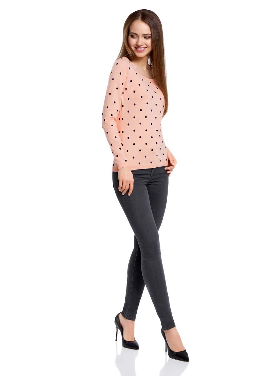 Джемпер женский oodji Ultra, цвет: светло-розовый, черный. 63812575/46037/4029D. Размер L (48)63812575/46037/4029DУютный женский джемпер в горошек с круглым вырезом горловины и длинными рукавами выполнен из натурального хлопка.