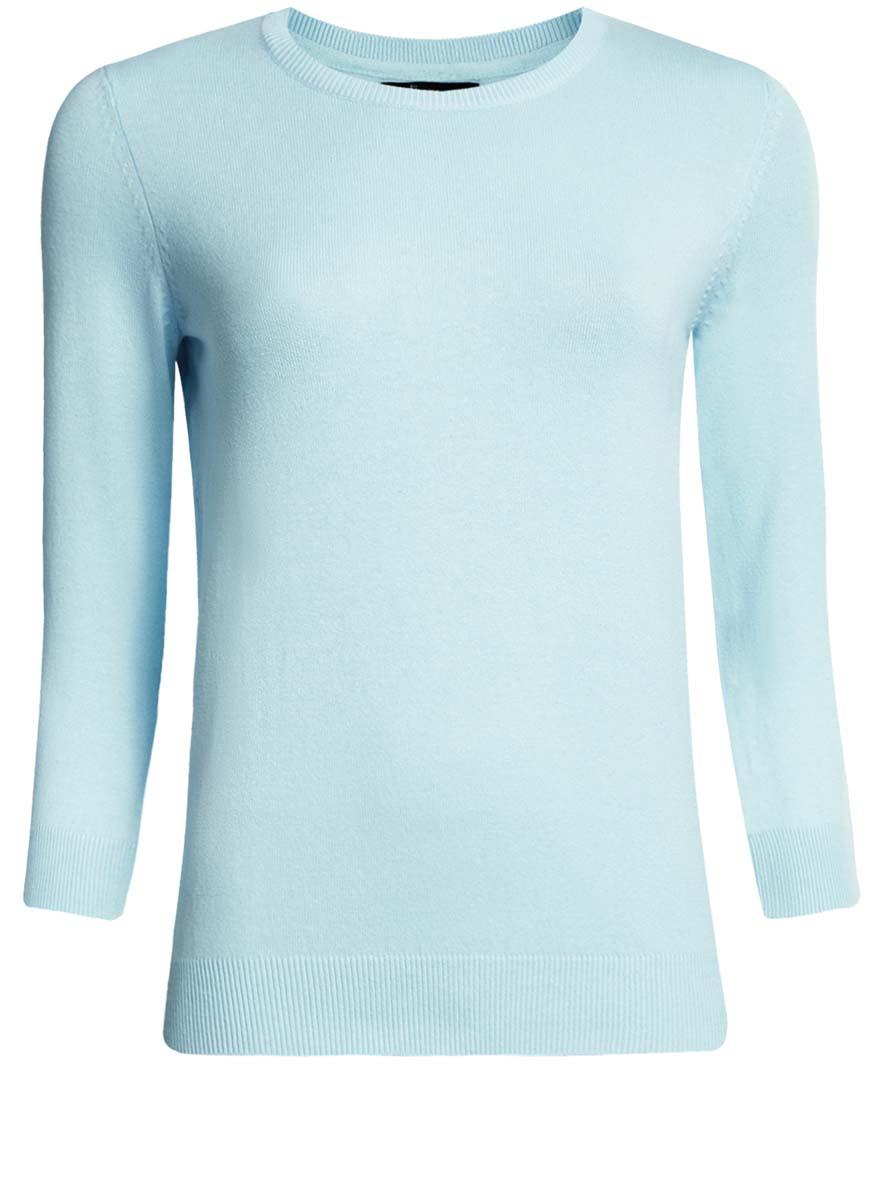 Джемпер женский oodji Ultra, цвет: голубой. 63812567B/45576/7000N. Размер XXS (40)63812567B/45576/7000NУютный женский джемпер с круглым вырезом горловины и рукавами 3/4 выполнен из хлопкового материала.