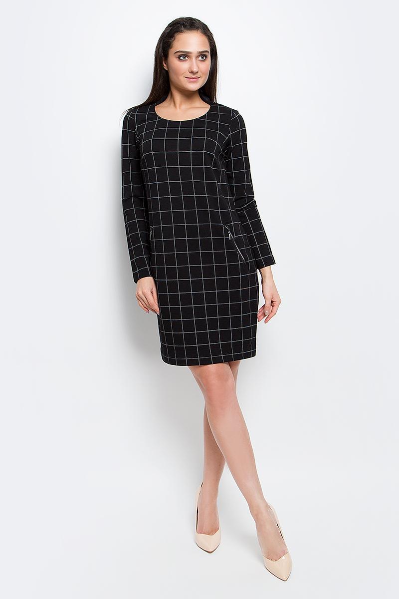Платье Finn Flare, цвет: черный. B17-11085_200. Размер L (48) платье finn flare цвет серый синий черный w16 11030 101 размер l 48