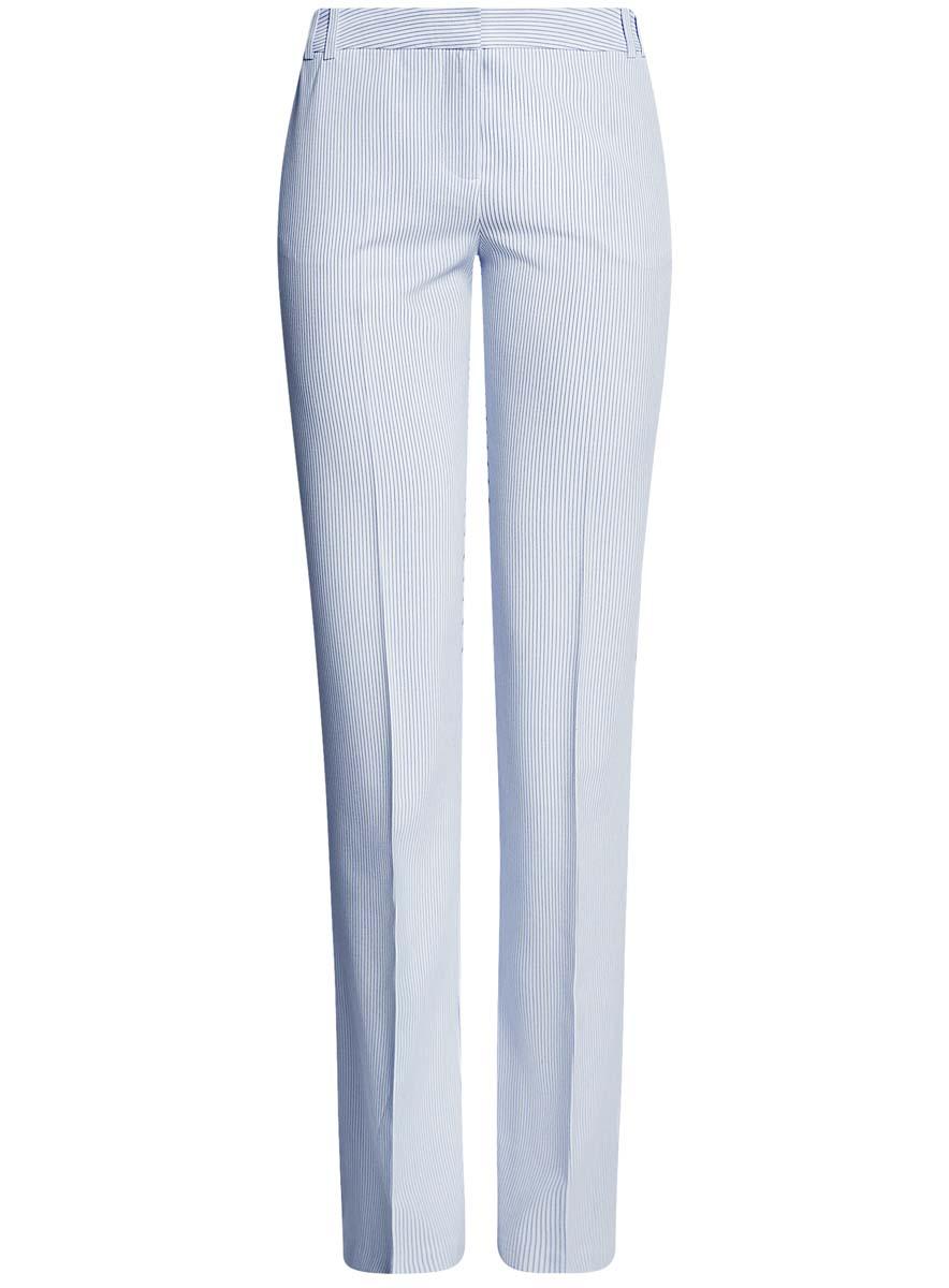 Брюки женские oodji Collection, цвет: белый, темно-синий. 21703075-9B/31270/1279S. Размер 38-170 (44-170)21703075-9B/31270/1279SЖенские брюки oodji Collection выполнены из высококачественного материала. Классическая модель со стрелками стандартной посадки застегивается на пуговицу в поясе и ширинку на застежке-молнии. Пояс имеет шлевки для ремня. Спереди брюки дополнены втачными карманами, сзади - прорезными.