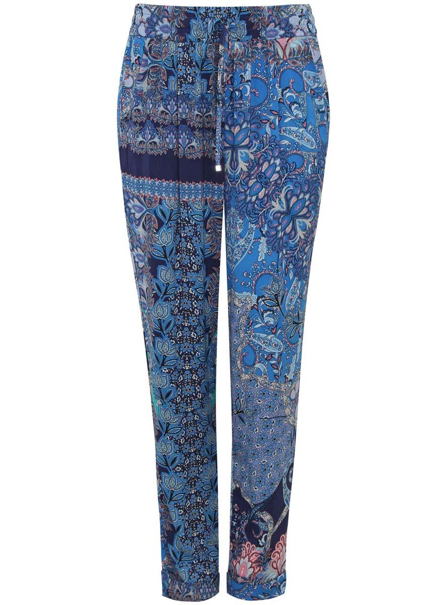 Купить Брюки женские oodji Collection, цвет: темно-синий, голубой. 21705061-3/19613/7970E. Размер 38-170 (44-170)