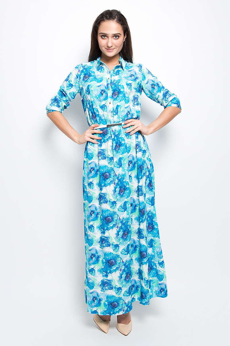 Платье Finn Flare, цвет: голубой. B17-11072_139. Размер L (48) платье finn flare цвет серый синий черный w16 11030 101 размер l 48
