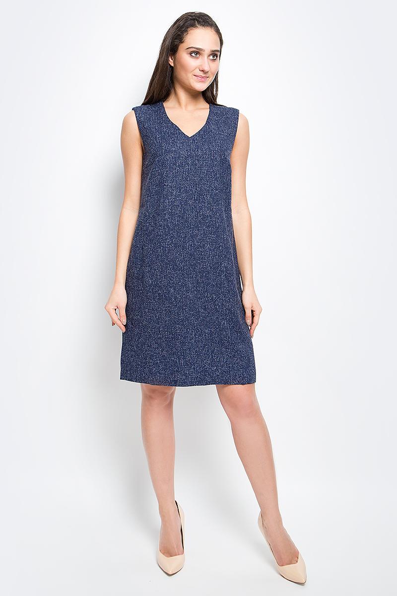 Платье Finn Flare, цвет: темно-синий. B17-12085_101. Размер L (48) платье finn flare цвет серый синий черный w16 11030 101 размер l 48
