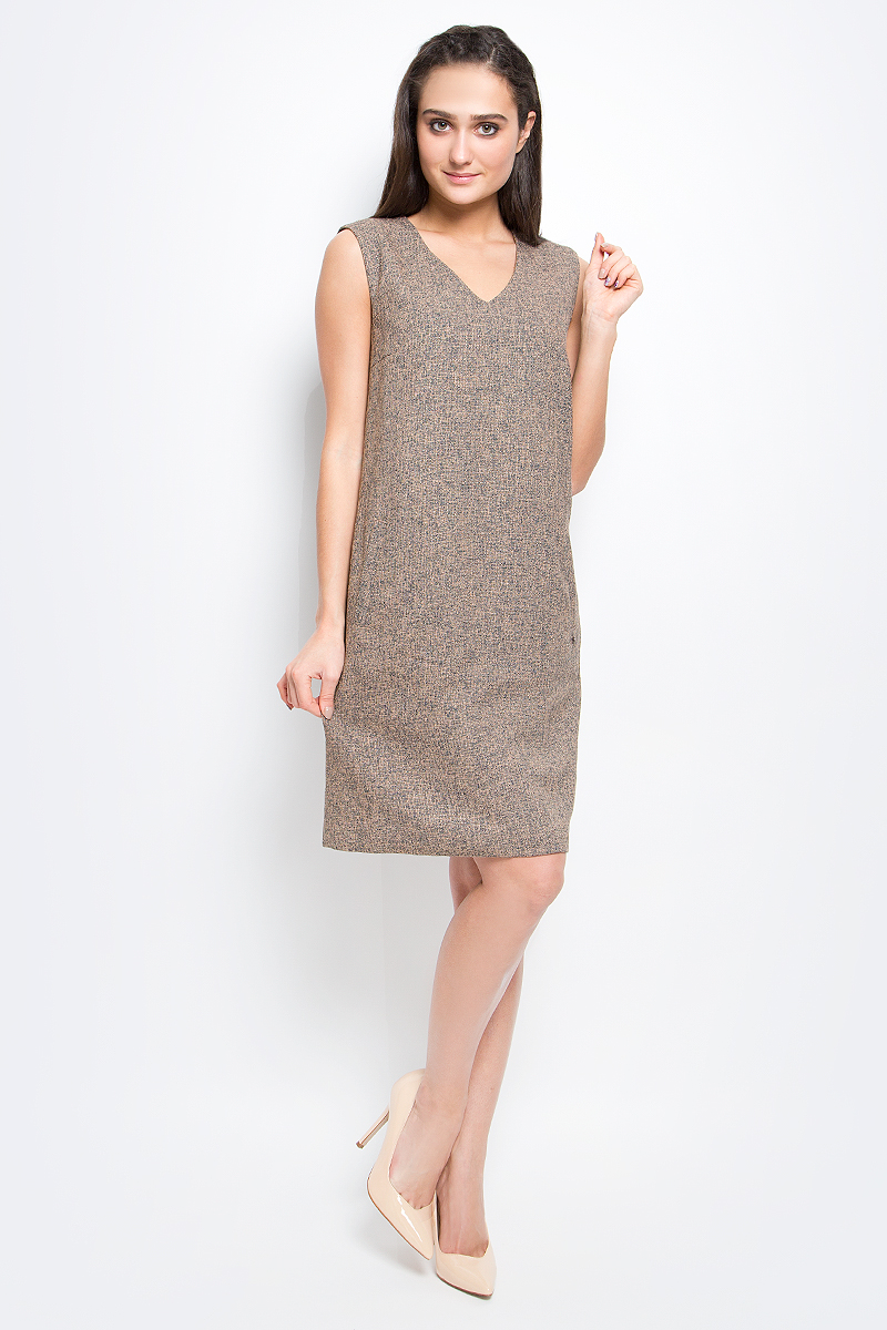 Платье Finn Flare, цвет: светло-коричневый. B17-12085_602. Размер L (48) поло мужское finn flare цвет светло серый b17 21029 211 размер l 50