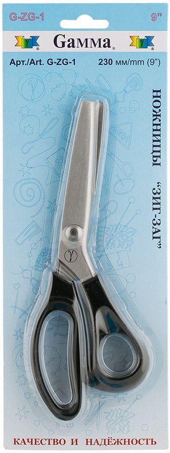 Ножницы Gamma Зигзаг, длина 23 смG-ZG -1Стальные ножницы Gamma Зигзаг с зубчатыми лезвиями используют для раскроя подкладочной или другой малоосыпающейся ткани, чтобы не обрабатывать швы. Оснащены пластиковыми термостойкими ручками, которые не плавятся при соприкосновении с утюгом. Режущие поверхности сходятся идеально. Тонкие острые кончики.Длина лезвия: 10 см.Общая длина: 23 см.