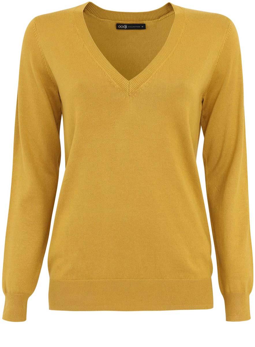 Пуловер женский oodji Collection, цвет: горчичный. 73812290-6/24525/5700N. Размер XS (42)
