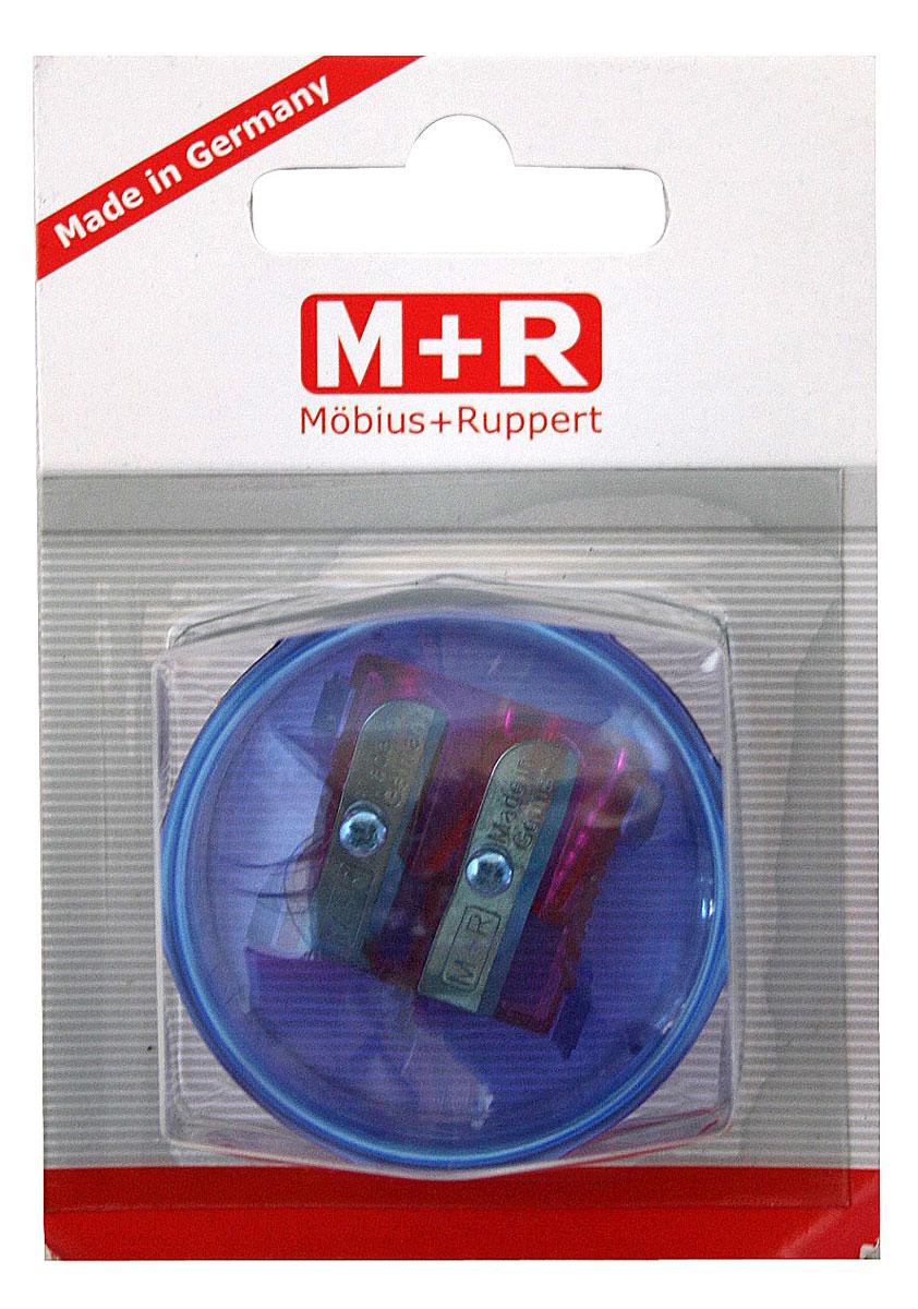 M+R Точилка Top Duo цвет синий фиолетовый0344-0002, 03440002Точилка M+R Top Duo выполнена из прочного пластика.В точилке имеются два отверстия для карандашей разного диаметра. Точилка подходит для различных видов карандашей. При повороте пластикового контейнера, отверстия закрываются.Полупрозрачный контейнер для сбора стружки позволяет визуально контролировать уровень заполнения и вовремя производить очистку.