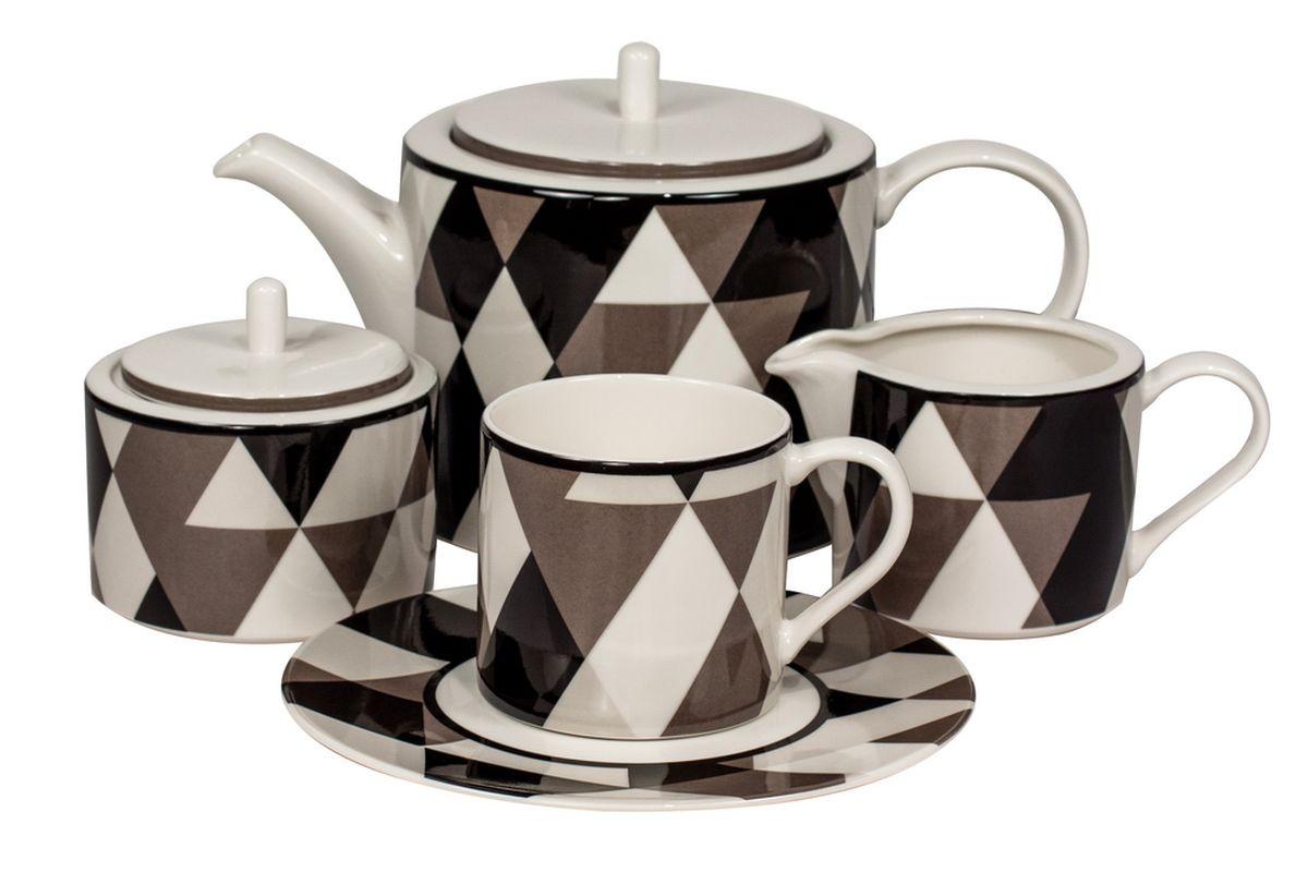 Сервиз чайный Royal Bone China Минотти, цвет: черный, 17 предметов9028/17105