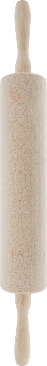 """Скалка """"Kesper"""", выполненная из высококачественной древесины, предназначена для раскатывания теста. Изделие имеет особо легкий ход благодаря шарикоподшипникам и сквозной металлической оси. Эргономичные подвижные ручки и вращающийся валик делают работу быстрой и приятной. Теперь вам не потребуется прилагать много усилий, чтобы раскатать тесто.  Общая длина скалки (с ручками): 57 см.  Длина валика: 33 см.  Диаметр валика: 7,5 см."""
