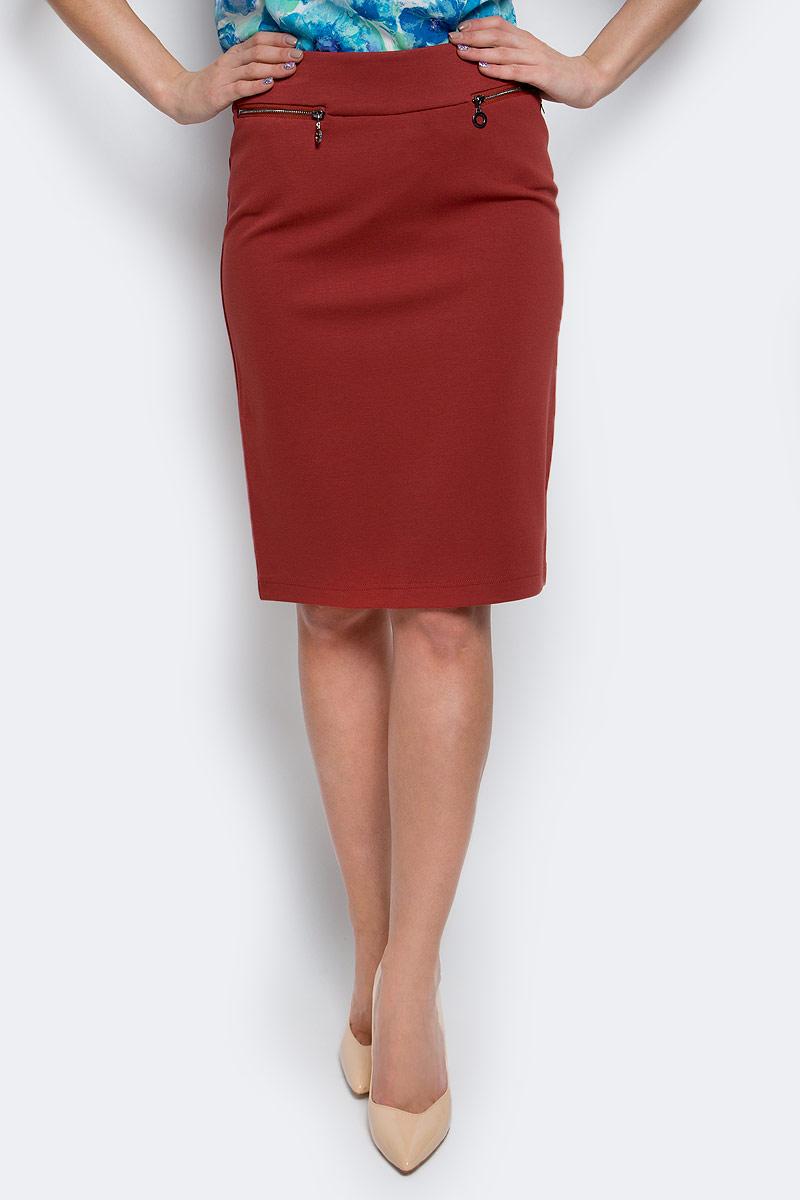 Юбка Finn Flare, цвет: коричнево-красный. B17-12040_618. Размер XL (50) цена