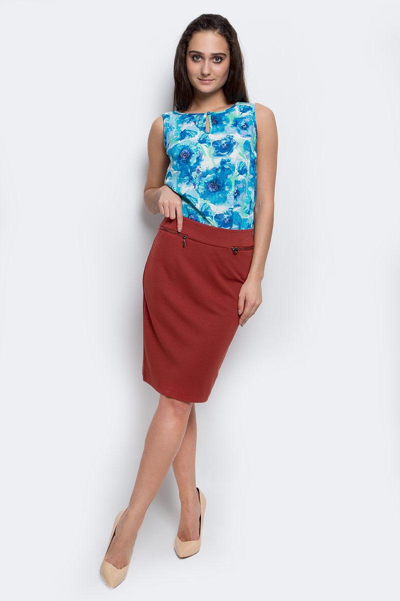 Юбка Finn Flare, цвет: коричнево-красный. B17-12040_618. Размер S (44)B17-12040_618Эффектная юбка Finn Flare выполнена из вискозы с добавлением нейлона и эластана. Элегантная юбка застегивается на застежку-молнию и имеет шлицу сзади. Спереди модель дополнена прорезными кармашками на застежках-молниях.