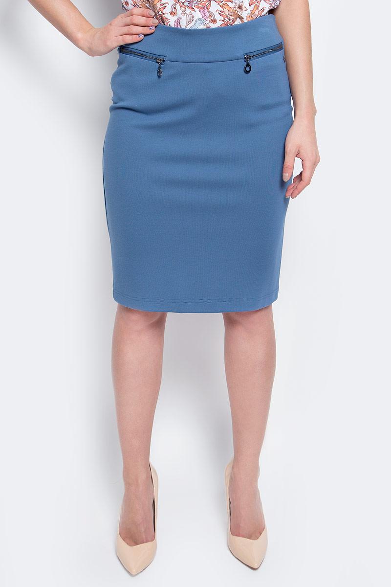 Юбка Finn Flare, цвет: серо-голубой. B17-12040_105. Размер L (48) блузка женская finn flare цвет голубой b17 11081 139 размер l 48