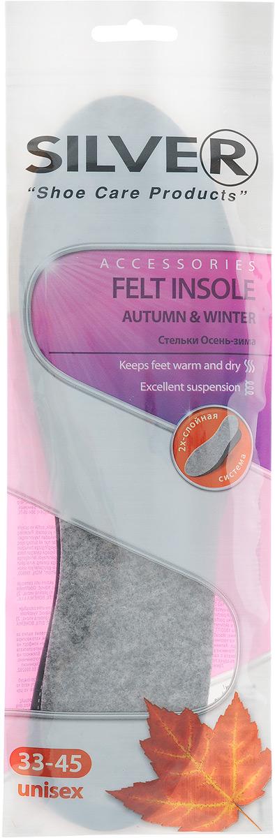 Стельки для обуви Silver Felt Insole, осень-зима, универсальный размер, 2 штTB3006-00Стельки для обуви Silver Felt Insole на основе латексной пены с покрытием из войлока - это легкий способ сохранения тепла, свежести и комфорта ваших ног в течение всего дня в холодный осенне-зимний период. Благодаря способности активированного угля, добавленного в латексную пену, к поглощению влаги и запахов, стельки для обуви предотвращают появление неприятного запаха и позволяют надолго сохранить свежесть. В качестве верхнего покрытия стельки использован войлок, который позволяет эффективно сохранять тепло ног. Мягкая латексная пена обладает амортизирующим действием, что позволяет уменьшить напряжение ног во время ходьбы. Стельки подходят для любого типа обуви.Способ применения:Вырезать по линии, соответствующей вашему размеру обуви. Поместить стельки в обувь тканевой поверхностью вверх. В конце дня просушить при комнатной температуре. Рекомендуется менять один раз в месяц. Не рекомендуется стирать.