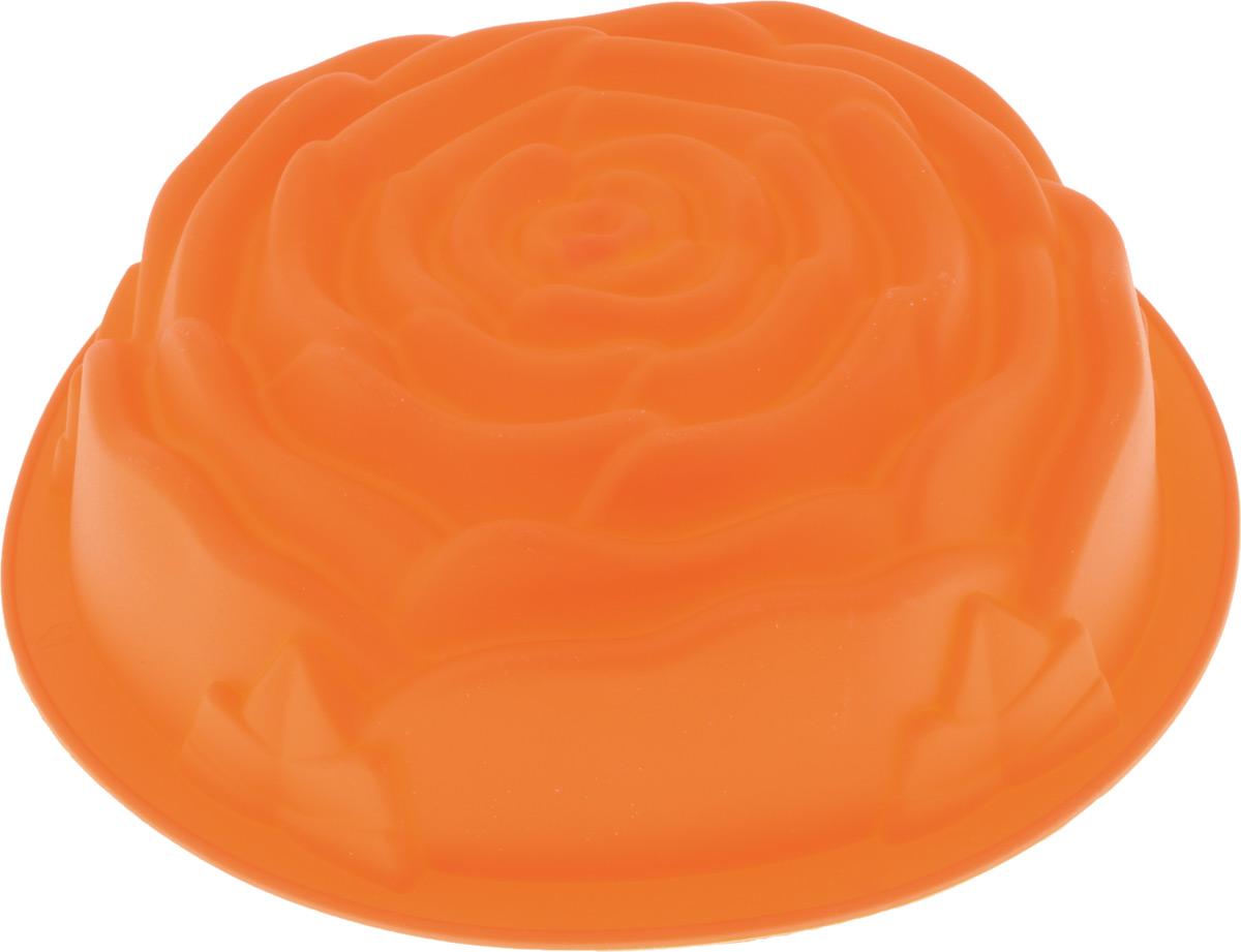Форма для выпечки Paterra Роза, силиконовая, цвет: оранжевый, диаметр 24 см402-501_оранжевыйФорма для выпечки Paterra Роза изготовлена из высококачественного силикона, который характеризуется термостойкостью (выдерживает температуру от -40°С до +250°С), обладает повышенной прочностью, эластичностью, инертностью к запахам, не токсичен. Силиконовые формы пригодны как для запекания в духовых шкафах всех типов и в микроволновых печах, так и для замораживания при очень низких температурах. Силикон не позволяет прилипать или пригорать продуктам и не требует смазывания маслом перед выпечкой. Так как форма гибкая, то это позволяет легко извлекать выпечку/лед любой формы без применения ножа, достаточно вывернуть форму наизнанку. Форма идеальна для приготовления выпечки, льда, желе, мороженого, холодца, зефира, шоколада, мармелада. Порадуйте своих родных и близких любимой выпечкой в необычном исполнении. Можно использовать в духовке, СВЧ, морозильной камере и мыть в посудомоечной машине. Диаметр формы: 24 см.Высота стенки: 6,5 см.