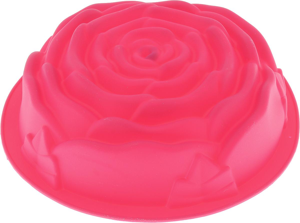 """Форма для выпечки Paterra """"Роза"""" изготовлена из   высококачественного силикона, который характеризуется   термостойкостью (выдерживает температуру от -40°С до +250°  С), обладает повышенной прочностью, эластичностью,   инертностью к запахам, не токсичен. Силиконовые формы пригодны как для запекания в духовых   шкафах всех типов и в микроволновых печах, так и для   замораживания при очень низких температурах. Силикон не   позволяет прилипать или пригорать продуктам и не требует   смазывания маслом перед выпечкой. Так как форма гибкая,   то это позволяет легко извлекать выпечку/лед любой формы   без применения ножа, достаточно вывернуть форму   наизнанку. Форма идеальна для приготовления выпечки, льда, желе,   мороженого, холодца, зефира, шоколада, мармелада.   Порадуйте своих родных и близких любимой выпечкой в   необычном исполнении. Можно использовать в духовке, СВЧ, морозильной камере и   мыть в посудомоечной машине. Диаметр формы: 24 см.Высота стенки: 6,5 см.   Как выбрать форму для выпечки – статья на OZON Гид."""