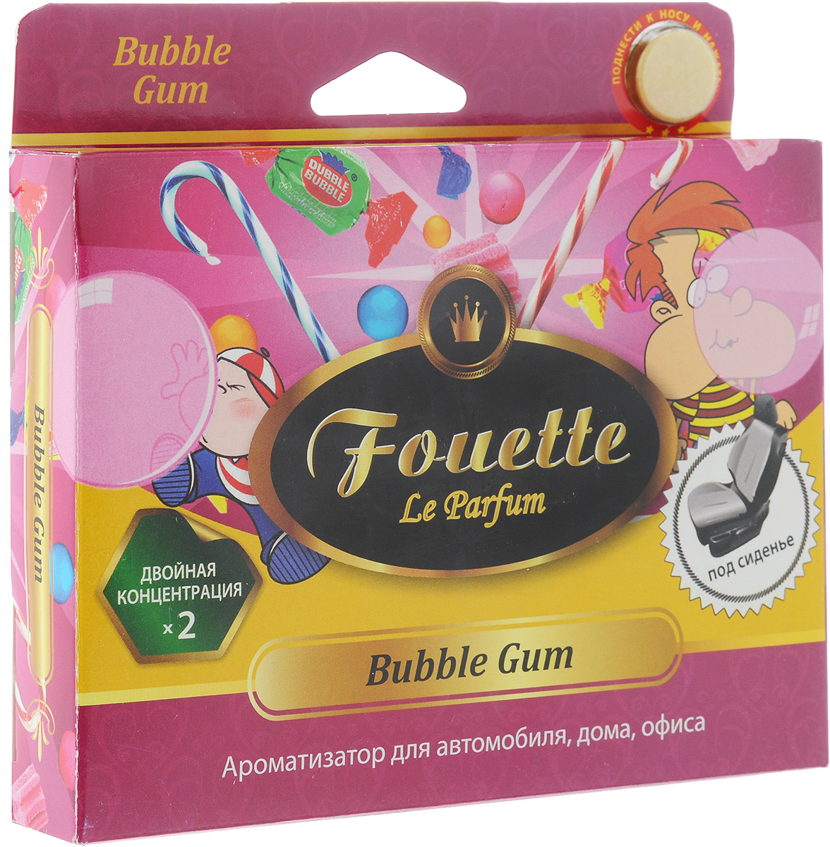 Ароматизатор для автомобиля Fouette Collection Aromatique. Bubble Gum, под сиденье, 200 г ароматизатор подвесной fouette aroma box bubble gum