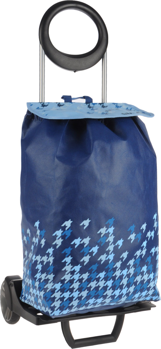 Сумка-тележка Gimi Ideal, цвет: синий, голубой, 50 л1533181810002Хозяйственная сумка-тележка Gimi Ideal выполнена из высококачественного полипропилена со стальным каркасом. Она оснащена одним вместительным отделением, закрывающимся на шнурок. Снаружи имеется карман на застежке-молнии, а также подставка для зонтика. Сумка водоустойчива, оснащена парой колес, которые обеспечивают удобство транспортировки. Для компактного хранения сумку можно сложить. Изделие можно использовать без сумки как универсальную тележку. Максимальная нагрузка: 30 кг.