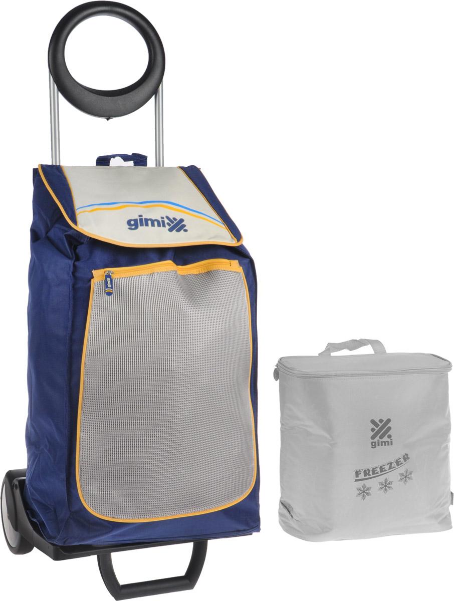 Сумка-тележка Gimi Family, цвет: синий, серый, 48 л1579584704113Хозяйственная сумка-тележка Gimi Family выполнена из высококачественного полиэстера со стальным каркасом. Она оснащена одним вместительным отделением, закрывающимся на липучки. Снаружи имеются карман на застежке-молнии и подставка для зонтика. Сумка водоустойчива, оснащена парой колес, которые обеспечивают удобство транспортировки. Без сумки изделие превращается в универсальную тележку с крючками для фиксации ящиков.В комплект входит термосумка вместимостью 10 литров.Максимальная нагрузка: 30 кг.