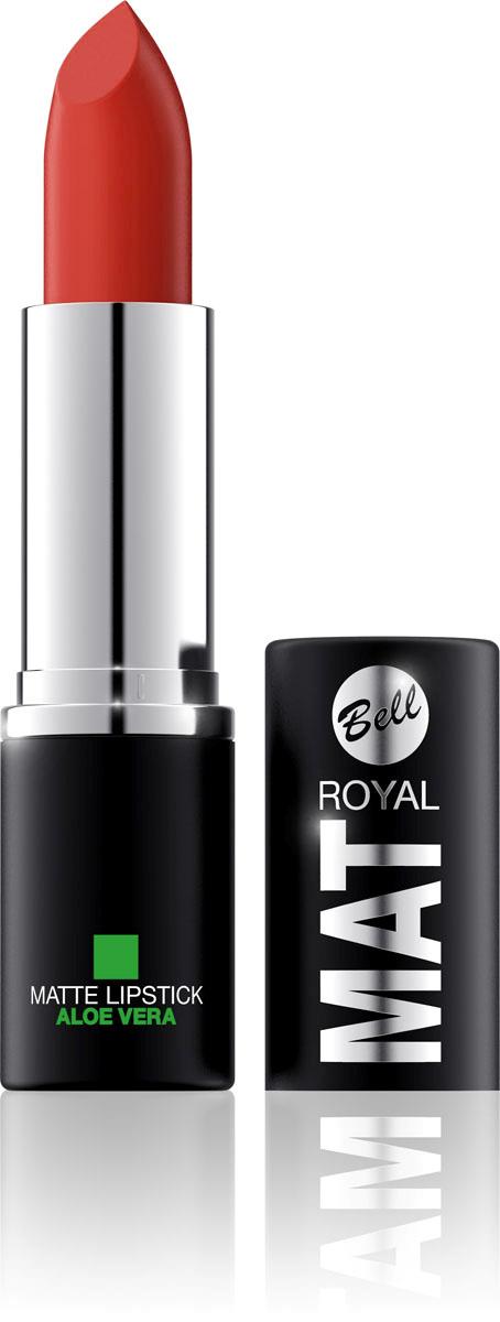 Bell Помада губная Матовая С Алоэ Вера Royal Mat Lipstick 4 грBpomRM009Помада создает матовую поверхность и максимальную насыщенность цвета. Аппликация помады является исключительно нежной и легкой, создавая при этом матовый эффект. Формула, содержащая регенерирующие компоненты алоэ дополнительно питает и ухаживает за губами. Благодаря высокому содержанию пигментов и стойкой формуле помада держится на губах долгое время.Для матового эффекта и увлажнения губ.Способ применения: Нанести на губы по контуру