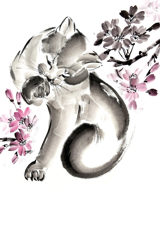 Гапчинская Евгения Японская живопись суми-э. Кошка. Блокнот mini блокнот cчастливой хозяйки которая всё успевает