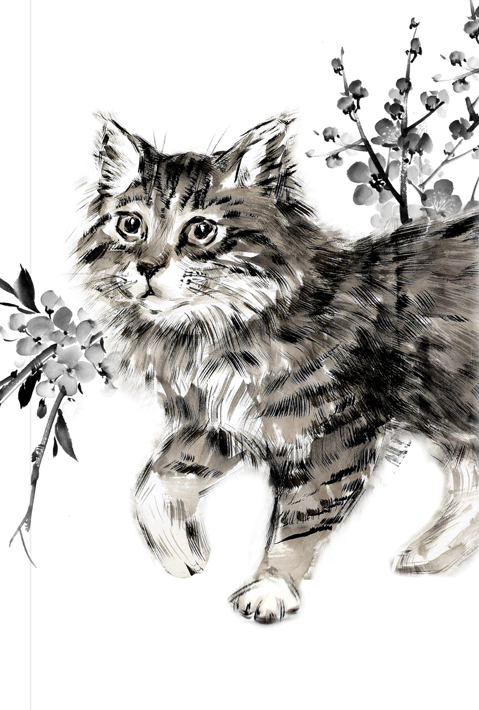 Японская живопись суми-э. Кот. Блокнот mini блокнот cчастливой хозяйки которая всё успевает