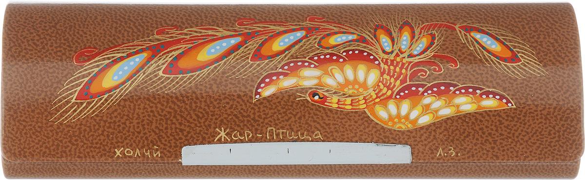 Футляр для очков Феодора  Жар Птица , цвет: светло-коричневый. Ручная роспись. FM-883-JSK - Корригирующие очки