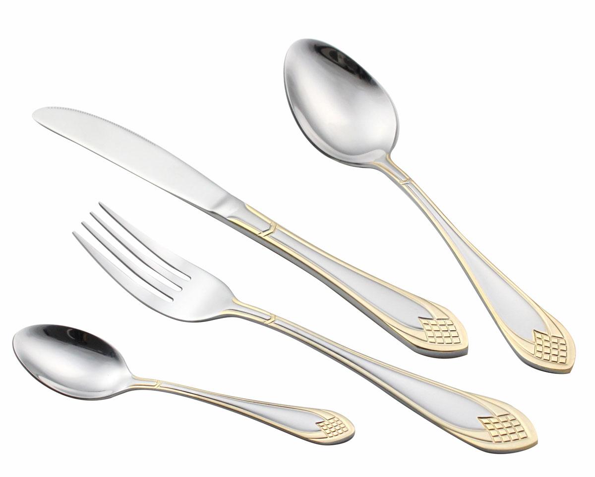 Набор столовых приборов Bravo, 72 предмета. 131-A72GS131-A72GSНабор столовых приборов Bravo выполнен из нержавеющей стали 18/10, имеет зеркальную полировку. Изделия можно мыть в посудомоечной машине. Набор включает: 12 столовых ложек, 12 столовых вилок,12 чайных ложек, 12 десертных вилок, 12 столовых ножей, 2 вилки для мяса, 2 сервировочные ложки, 1 ложка для салата, 1 вилка для салата, 1 лопатка для пирожных, 1 ложка для сахара, 1 щипчики для сахара,1 ложка для супа, 1 маленький половник, 1 большой половник.