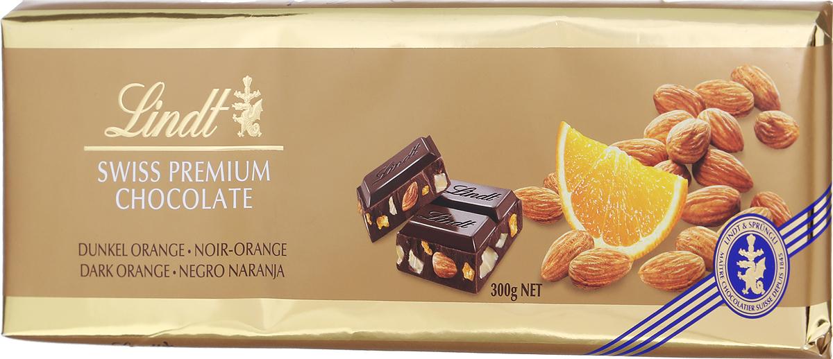 Lindt темный шоколад с апельсином и миндалем, 300 г lindt шоколад темный lindt excellence с лаймом 100г