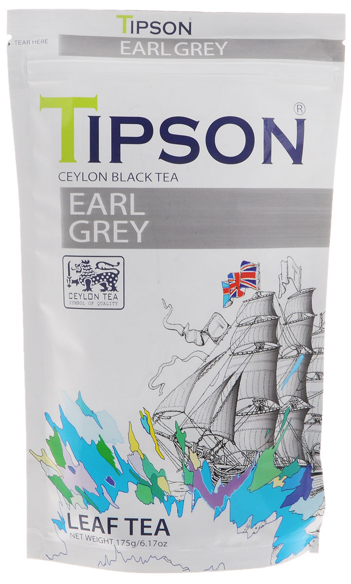 Tipson Эрл Грей черный листовой чай с ароматом бергамота, 175 г mabroc эрл грей чай черный листовой 100 г