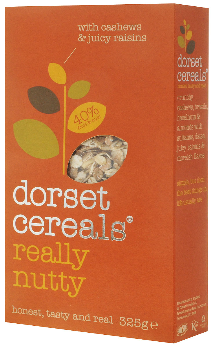 Dorset Cereals 4 ореха мюсли, 325 гбйж001Мюсли Dorset Cereals 4 ореха с миксом кешью, бразильского ореха, фундука, миндаля и изюма. Не подвергаются термической обработке и сохраняют полезные элементы цельного овсяного зерна. Являются сбалансированным и полноценным завтраком, который помогает пищеварению и поддерживает обменные процессы в организме.Уважаемые клиенты! Обращаем ваше внимание, что полный перечень состава продукта представлен на дополнительном изображении.